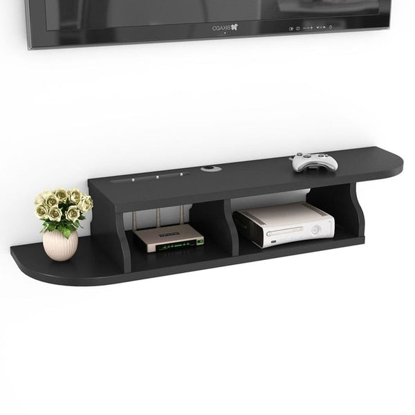 Tribesigns 2 Tier Wall Mounted Floating Shelf TV Console 45.2x10.6x7 inch for Cable Boxes/Routers/Remotes/DVD Players Consoles