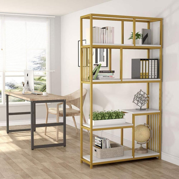 7 Open Shelf Bookcases Tribesigns Modern Etagere Bookshelf Gold Sturdy Metal Frame Elegant Storage Display Shelf Home Furniture