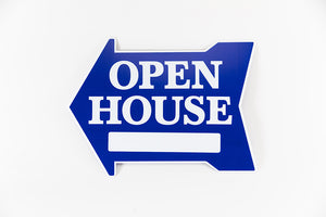 OPEN HOUSE SIGN: EXTRA LARGE ARROW SHAPE, BLUE