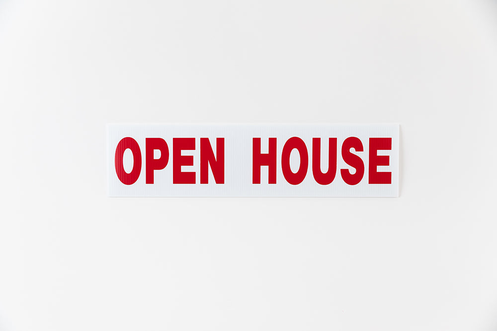 OPEN HOUSE SIGN - 6x24 - RED