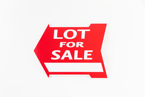 LOT FOR SALE SIGN - ARROW SHAPE - RED