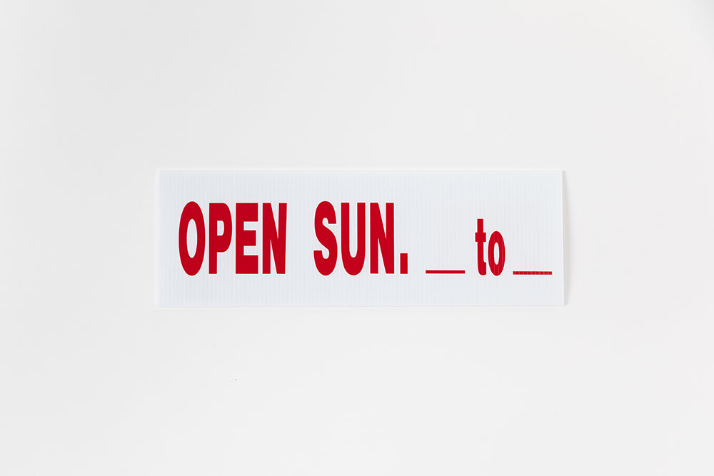 OPEN SUNDAY SIGN - 6x18 RIDER