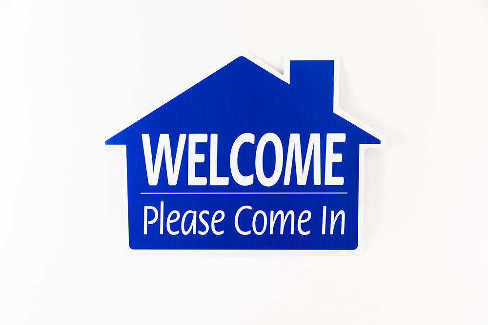 WELCOME PLEASE COME IN SIGN - HOUSE SHAPE - BLUE