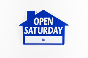 OPEN SATURDAY SIGN: HOUSE SHAPE, BLUE