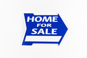 HOME FOR SALE SIGN: ARROW SHAPE, BLUE