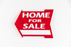 HOME FOR SALE SIGN - ARROW SHAPE - RED