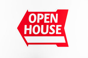 OPEN HOUSE SIGN: ARROW SHAPE, RED