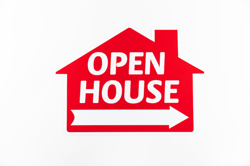 OPEN HOUSE SIGN: HOUSE SHAPE, RED
