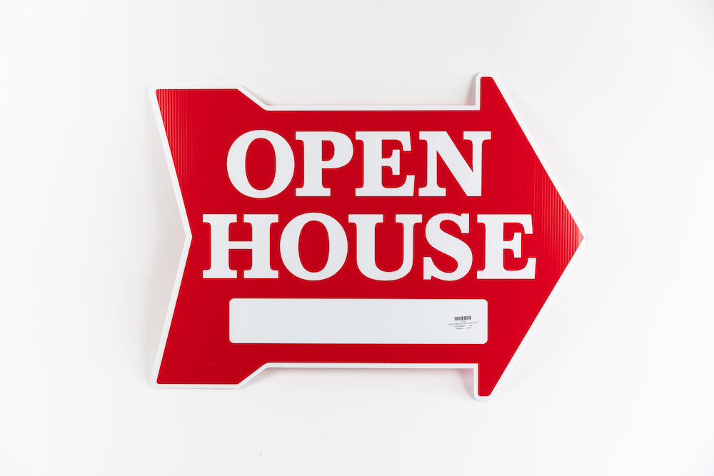 OPEN HOUSE SIGN - EXTRA LARGE ARROW SHAPE - RED