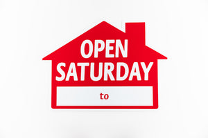 OPEN SATURDAY SIGN: HOUSE SHAPE, RED