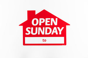 OPEN SUNDAY SIGN: HOUSE SHAPE, RED