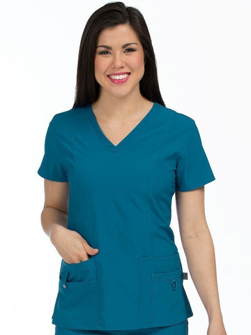 8408 V-NECK PRINCESS SEAM TOP - All About Scrubs llc