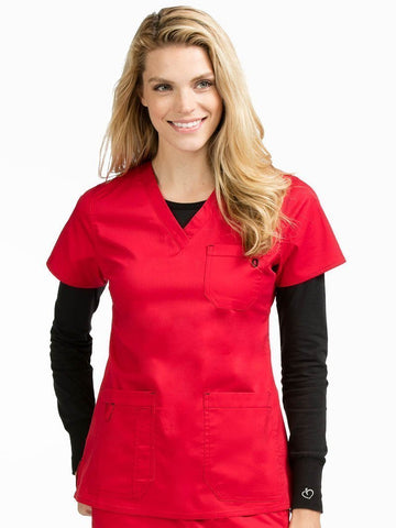 8496 V-NECK 3 POCKET TOP - All About Scrubs llc