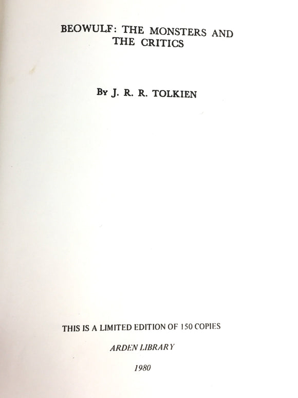 Tolkien, J.R.R. Beowulf: The Monster and the Critics