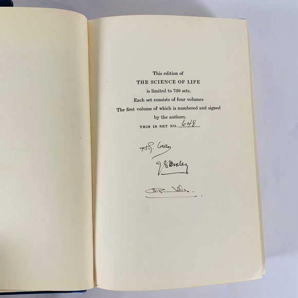 Wells, H.G.; Julian Huxley; G.P. Wells. The Science of Life [signed]