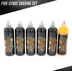 World Famous ink - Five Stage Shading set 6pc - 120ml