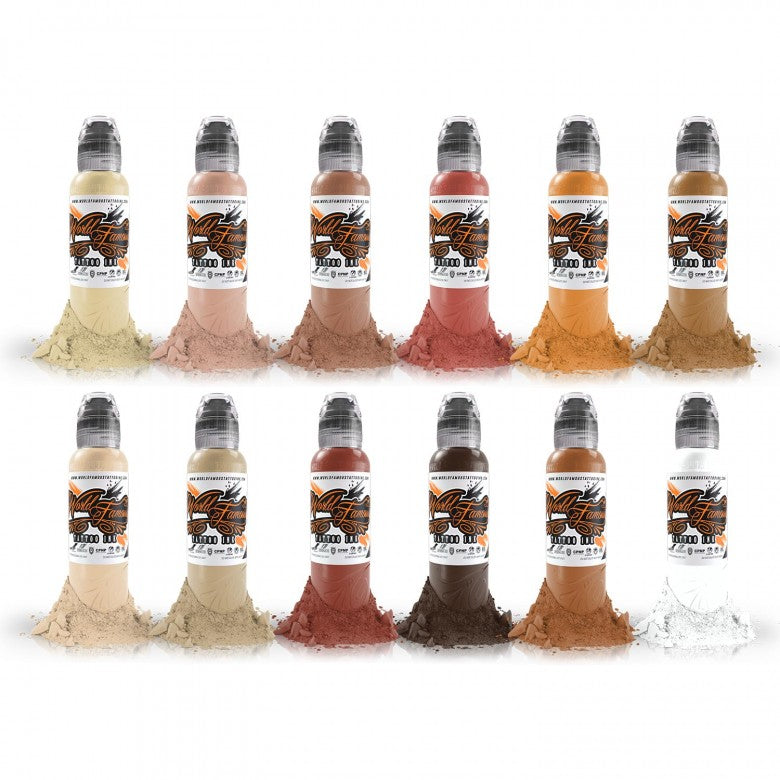 Complete Set of 12 World Famous Ink Skintone Colour Set 30ml