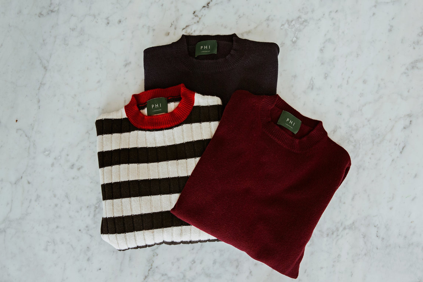 Sustainable Knitwear PHI Burgundy Black cashmere Sweaters