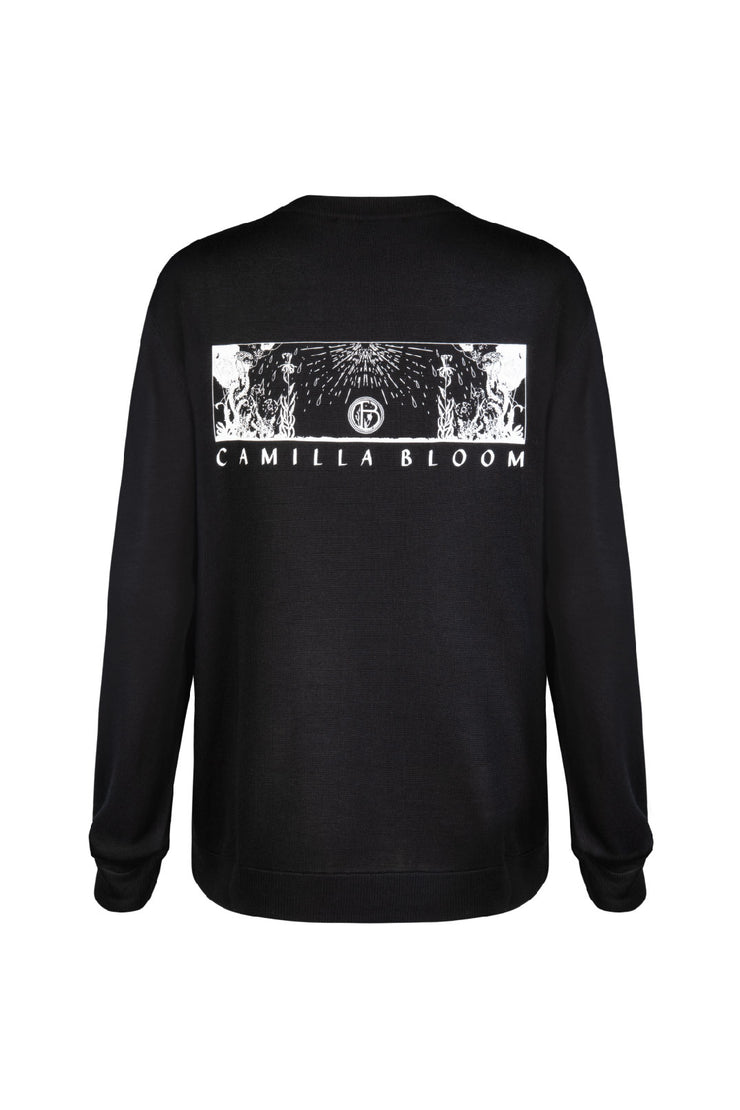 PRINTED LONG SLEEVE - BLACK