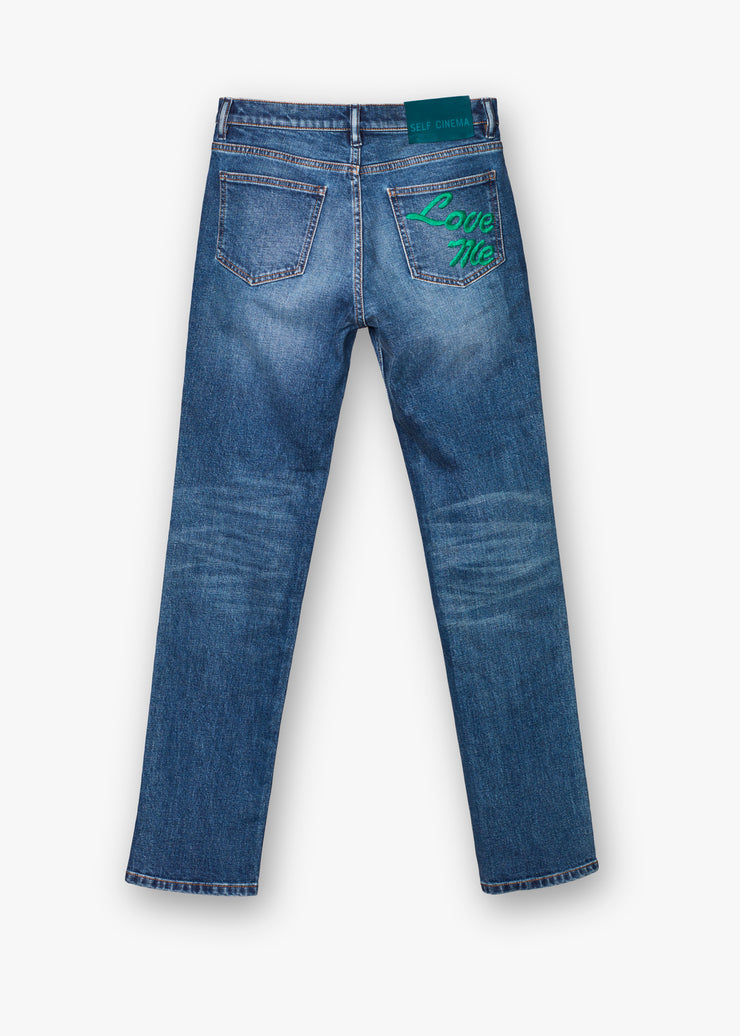 Slim Straight Jeans Embroidered Mid Blue Vintage - Rêve Ultime