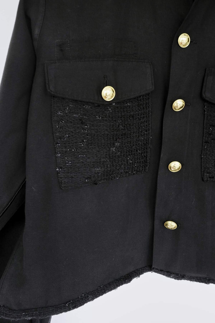 Carbon - Cropped Vintage Jacket Black Tweed Rhinestone - Rêve Ultime