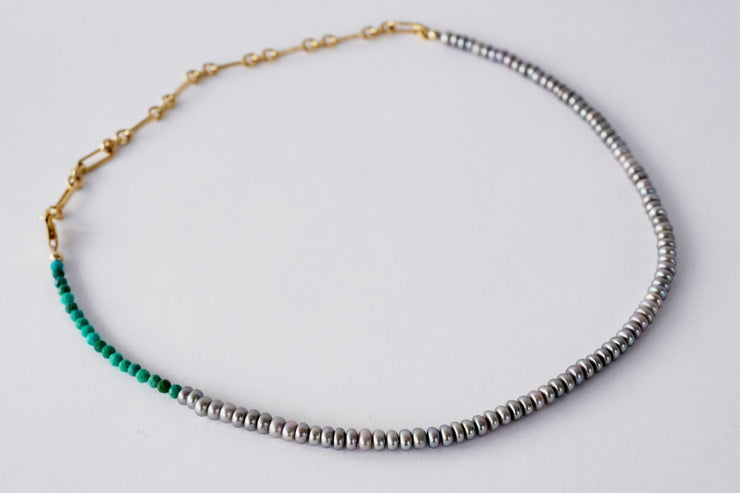 Silver Pearl Turquoise Necklace - Rêve Ultime
