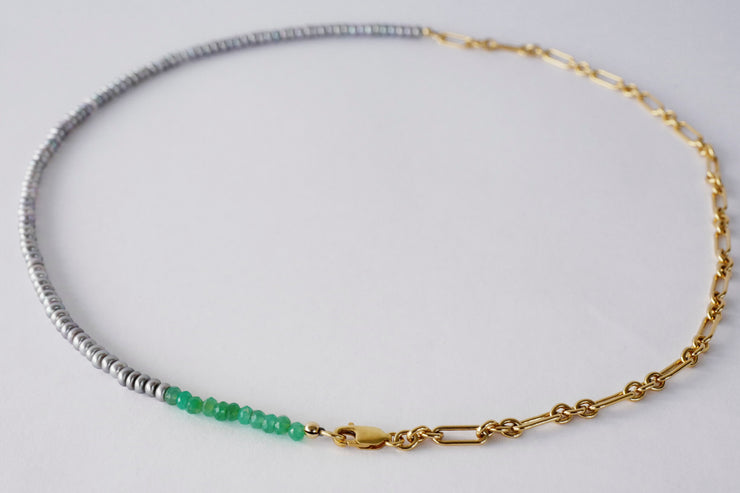 Silver Pearl Green Necklace - Rêve Ultime