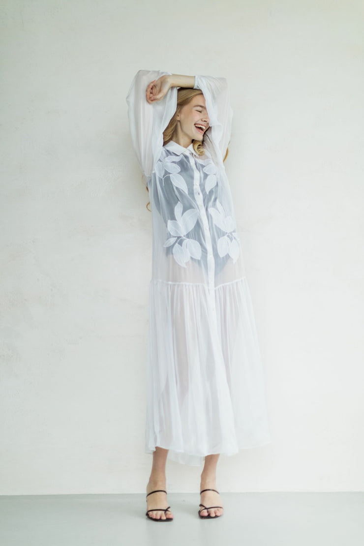 Organic peace silk dress with embroidery
