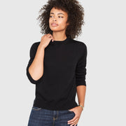 Ellen Notched Neckband Merino Wool Sweater - Black