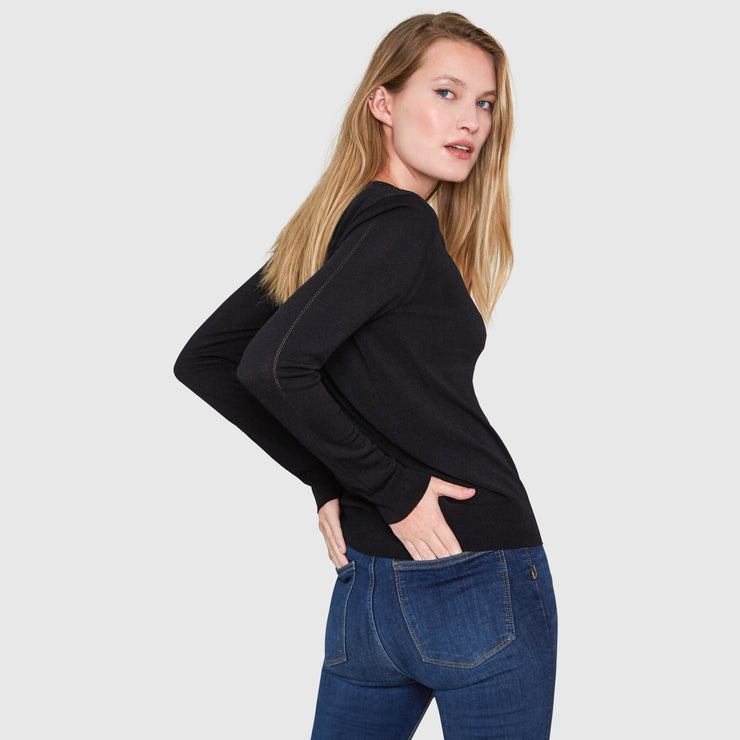 LIVIA LONG SLEEVE V-NECK VISCOSE SWEATER - black
