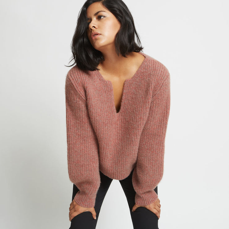 Kaya Ribbed Pure Cashmere Sweater - Red Agate