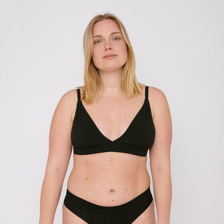 Organic Cotton Triangle Bra Black - Rêve Ultime