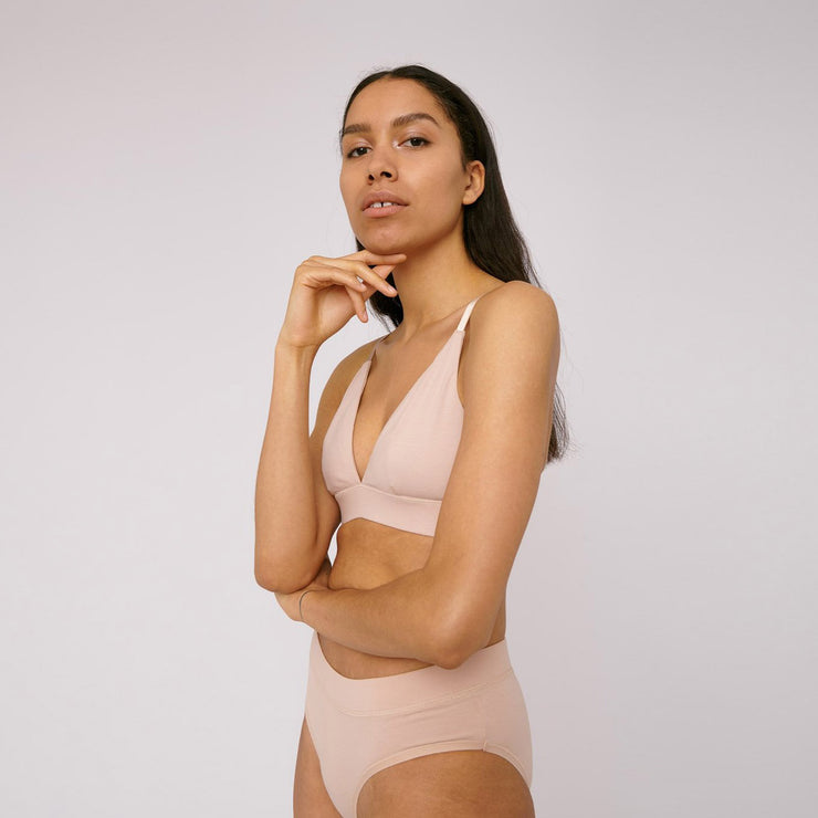 Organic Cotton Triangle Bra Rose Nude - Rêve Ultime