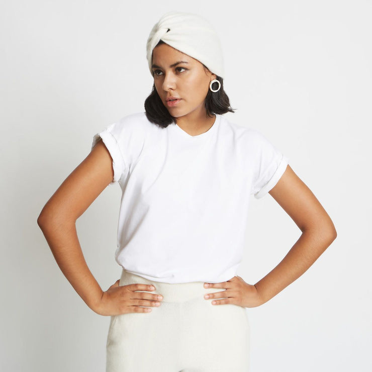 Stacy Cashmere Turban Hat in Sugar