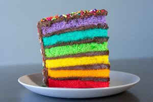 CHOCOLATE FUDGE RAINBOW CAKE PRE-SLICED - 8 SLICES