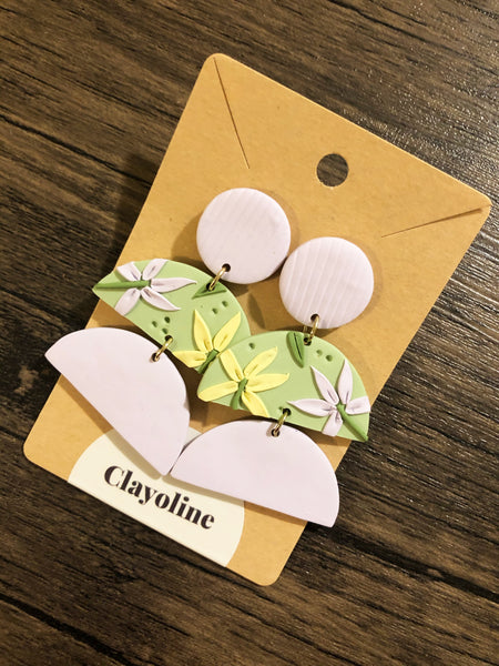 Floral Tiers Clay Earrings