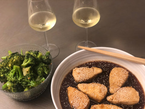 Chardonnay & Catch of the Day! Teriyaki Halibut and Dineen Vineyards Chardonnay