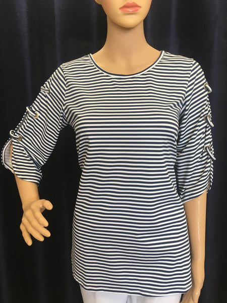 Navy/White Stripe Open Sleeve