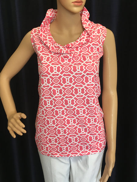 Coral/White Sleeveless Ruffle Neck