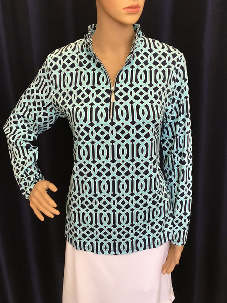 Turquoise and Navy Geometric 1/4 Zip