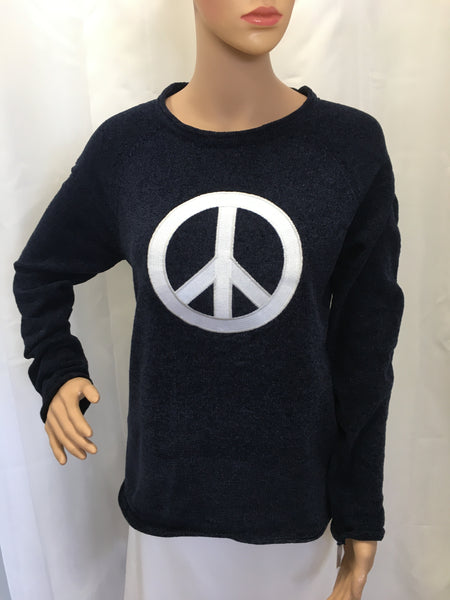 Navy Peace Sign Chenille Sweater