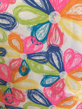Colorful Petals Short Sleeve Keyhole