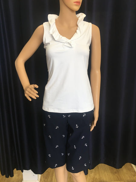 Navy with White Embroidered Anchors Bermuda