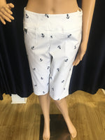 White with Navy Embroidered Anchors Bermuda