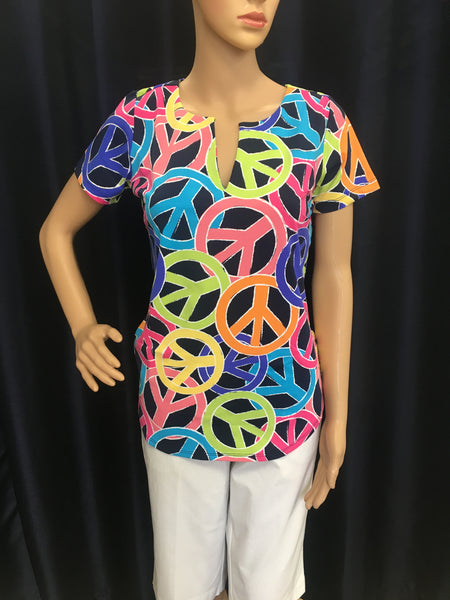 Multi Color Peace Short Sleeve Keyhole