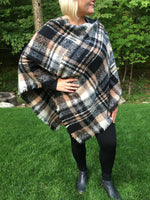 Black Multi Color Blanket Poncho