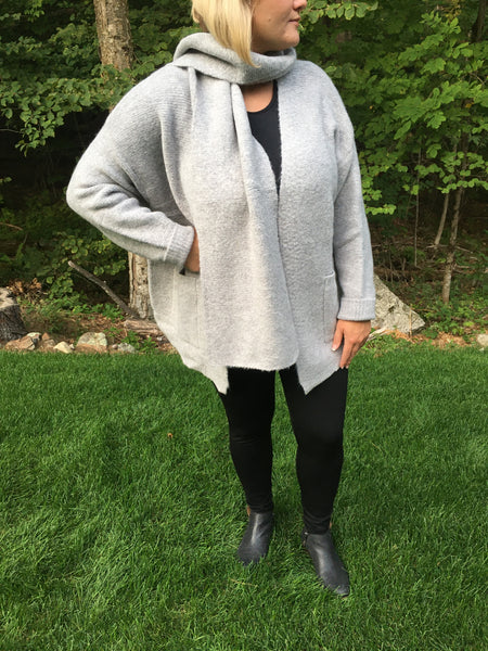 Grey Cardigan with Scarf