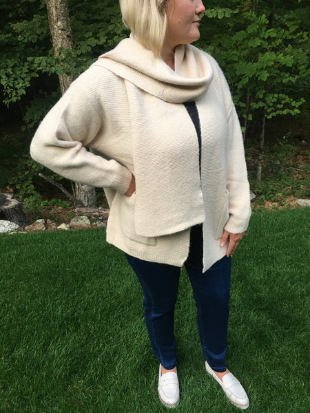 Cream Cardigan with Scarf