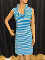 Turquoise/White Stripe Ruffle Neck Swing Dress
