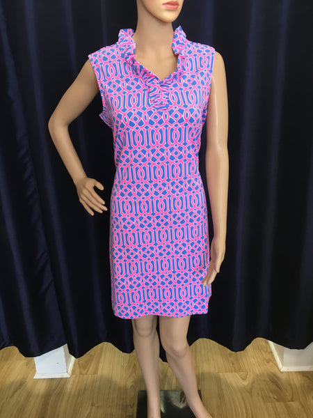 Hot Pink/Periwinkle Geometric Ruffle Neck Swing Dress
